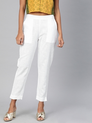 White plain cotton trousers