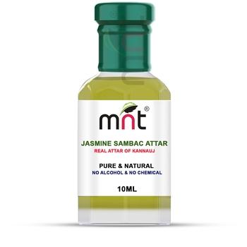 MNT Jasmine Sambac Attar For Unisex, Long Lasting & Alcohol Free (10ml) - Pure Natural & Premium Quality Roll-on Attar