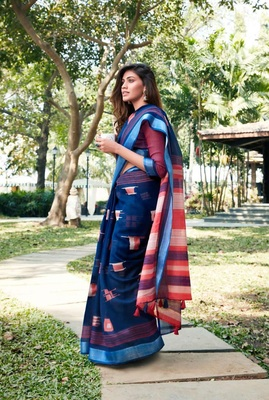 Navy blue printed linen saree with blouse
