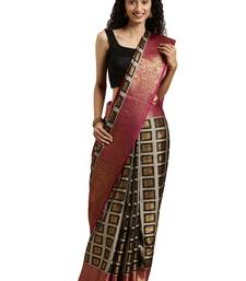 Black woven tissue saree with blouse