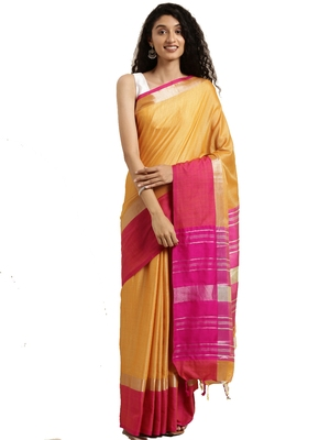 Mustard woven linen saree with blouse