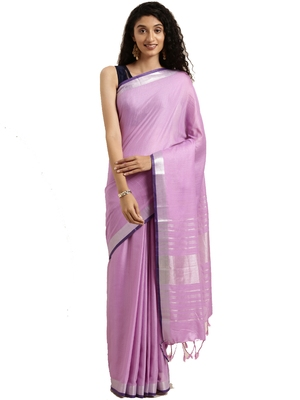 Purple woven linen saree with blouse