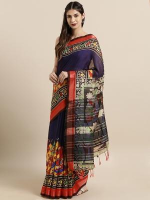 Orange woven linen saree with blouse