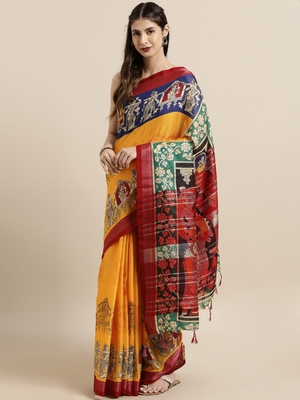 Wine woven linen saree with blouse