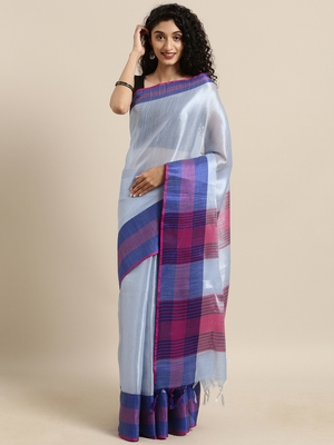 Blue woven tissue saree with blouse