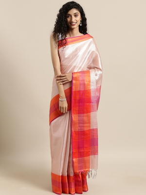 Pink woven tissue saree with blouse