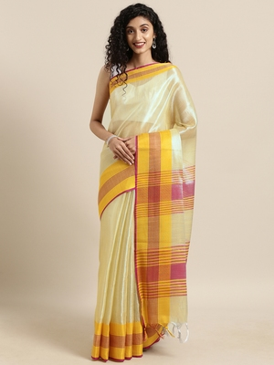 Green woven tissue saree with blouse
