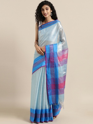 Peach woven tissue saree with blouse
