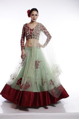 Green embroidered net semi stitched lehenga