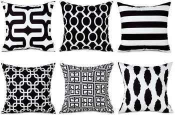 INDIANCRAFT Decorative Polyester Throw Pillow Cases,Durable Canvas Outdoor Cushion Covers 16 X 16 Inch,(Set of 6)-Black