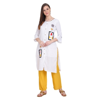 White plain cotton long-kurtis
