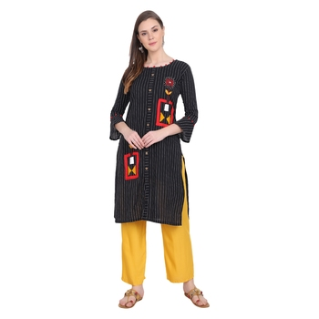 Black plain cotton long-kurtis