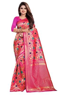 Pink Color Jacquard work banarasi silk phulkari design saree with blouse