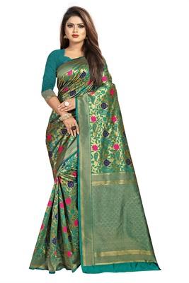 Green Color Jacquard work banarasi silk phulkari design saree with blouse