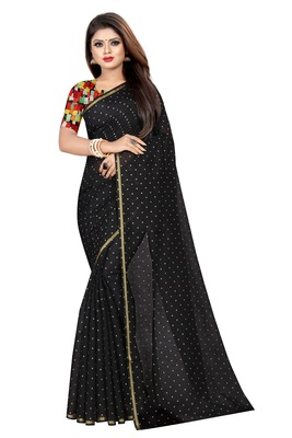 Black printed chanderi saree with blouse
