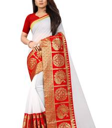 White woven chanderi saree with blouse