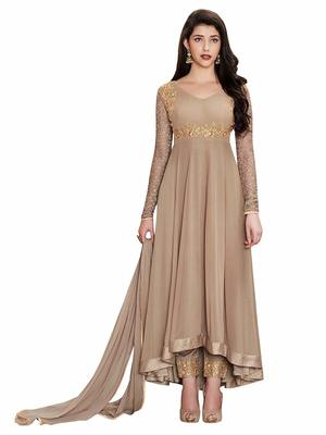 Brown hand embroidery georgette salwar