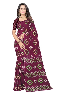 Magenta printed georgette saree with blouse