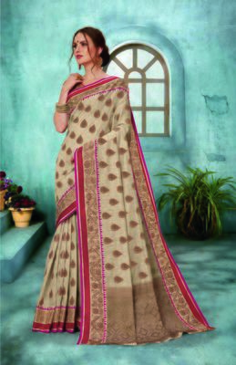 Beige woven pure silk blend saree with blouse