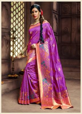 Purple woven pure banarasi silk saree with blouse