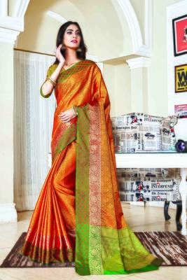 Mustard woven jacquard saree with blouse