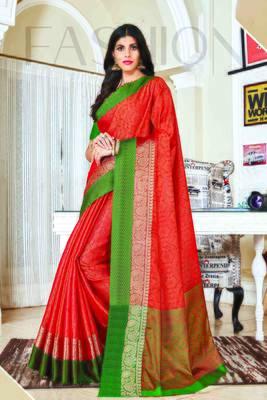 Orange woven jacquard saree with blouse