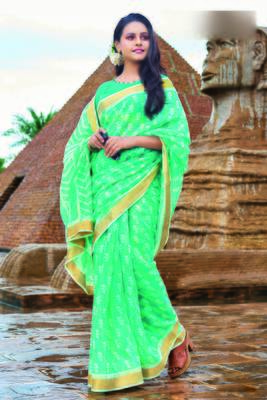 Turquoise woven cotton saree with blouse