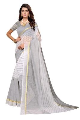 White Striped Print Cotton Saree With Blouse