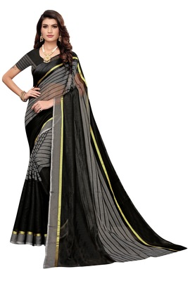 Grey Striped Print Cotton Saree With Blouse