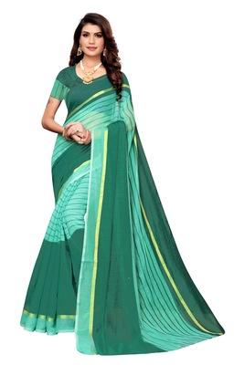 sea green Striped Print Cotton Saree With Blouse