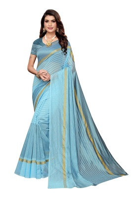 Sky Blue Striped Print Cotton Saree With Blouse