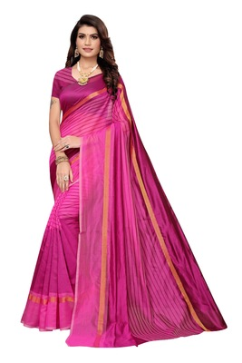 Pink Striped Print Cotton Saree With Blouse