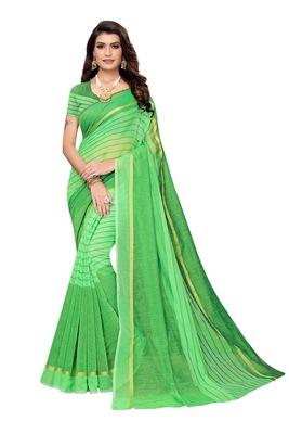 Perrot Green  Striped Print Cotton Saree With Blouse