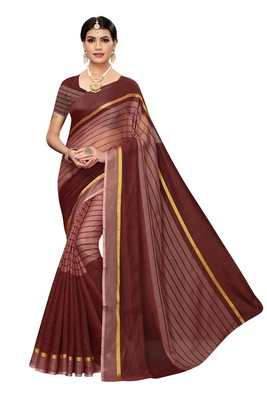 Brown Striped Print Cotton Saree With Blouse