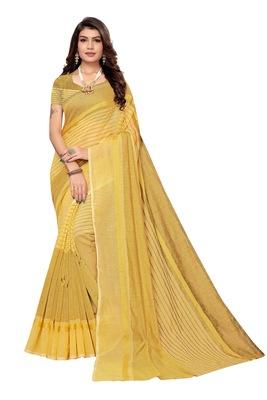 yellow Striped Print Cotton Saree With Blouse