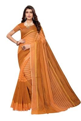 Light orange Striped Print Cotton Saree With Blouse