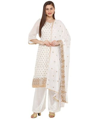 Women's White Embroidered Cotton Chanderi Unstitch Dress Material With Dupatta