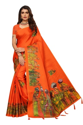 Orange Digital Printed Khadi Cotton Saree With Bloue Piece