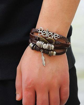 Silver Brown Wraps Casual Skin Friendly Bracelets for Men Boys Multi-strand Friendship Bracelets 7.5 Inches