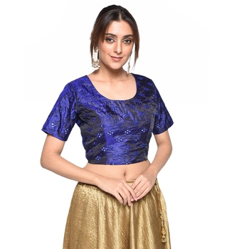 Blue embroidered art silk padded readymade blouse
