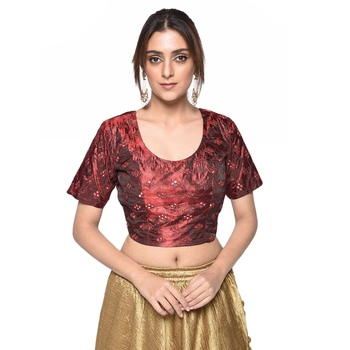 Red embroidered art silk padded readymade blouse