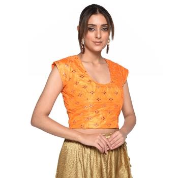 Orange embroidered art silk padded readymade blouse