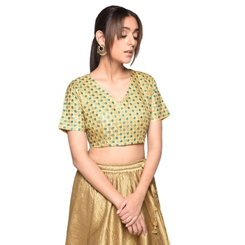 Beige embroidered art silk padded readymade blouse
