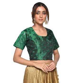 Green embroidered art silk padded readymade blouse