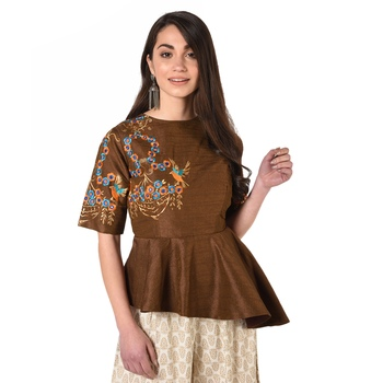Brown embroidered art silk padded readymade blouse