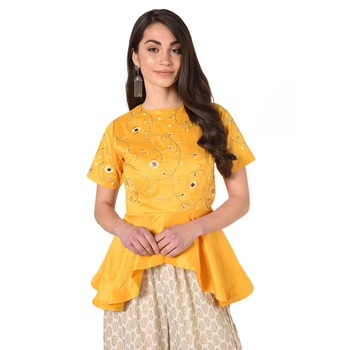 Yellow embroidered art silk padded readymade blouse