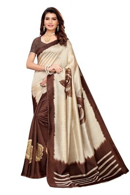 Cream And Brown Printed art silk Indian Style Saree With Blouse Piece