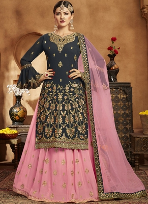 Dark Grey Georgette Pakistani Salwar Kameez