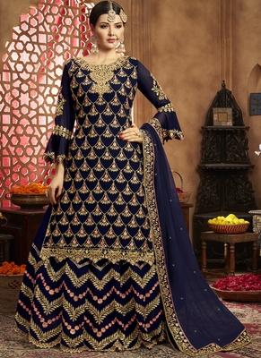 Royal Blue Georgette Pakistani Salwar Kameez
