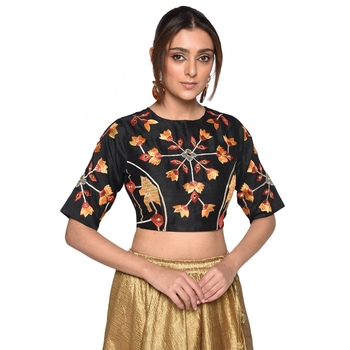 Black embroidered art silk padded readymade blouse